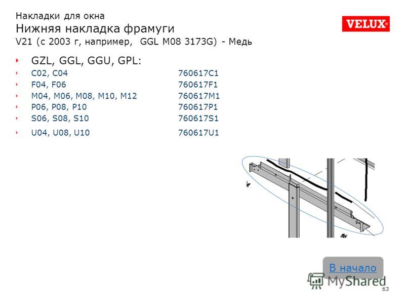 63 В начало GZL, GGL, GGU, GPL: C02, C04760617C1 F04, F06760617F1 M04, M06, M08, M10, M12760617M1 P06, P08, P10760617P1 S06, S08, S10760617S1 U04, U08, U10760617U1 Накладки для окна Нижняя накладка фрамуги V21 (с 2003 г, например, GGL M08 3173G) - Ме