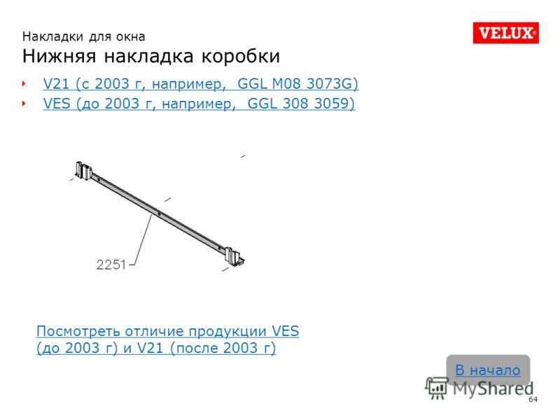 V21 (с 2003 г, например, GGL M08 3073G) VES (до 2003 г, например, GGL 308 3059) 64 В начало Накладки для окна Нижняя накладка коробки Посмотреть отличие продукции VES (до 2003 г) и V21 (после 2003 г)