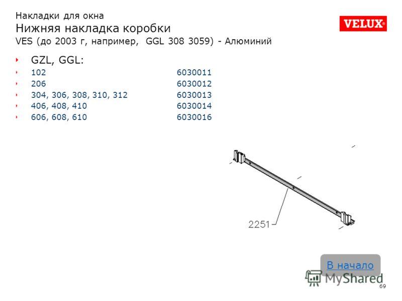 69 В начало Накладки для окна Нижняя накладка коробки VES (до 2003 г, например, GGL 308 3059) - Алюминий GZL, GGL: 1026030011 2066030012 304, 306, 308, 310, 3126030013 406, 408, 4106030014 606, 608, 6106030016