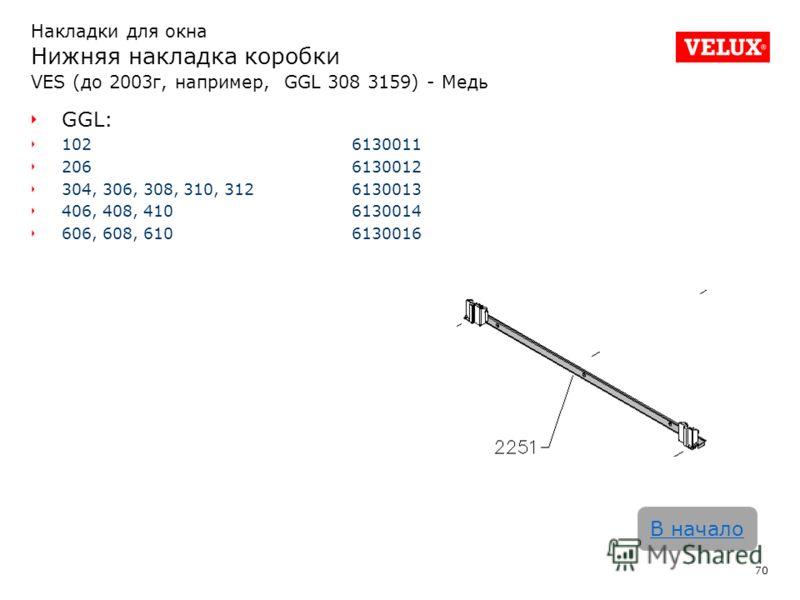 70 В начало Накладки для окна Нижняя накладка коробки VES (до 2003г, например, GGL 308 3159) - Медь GGL: 102 6130011 2066130012 304, 306, 308, 310, 3126130013 406, 408, 4106130014 606, 608, 6106130016