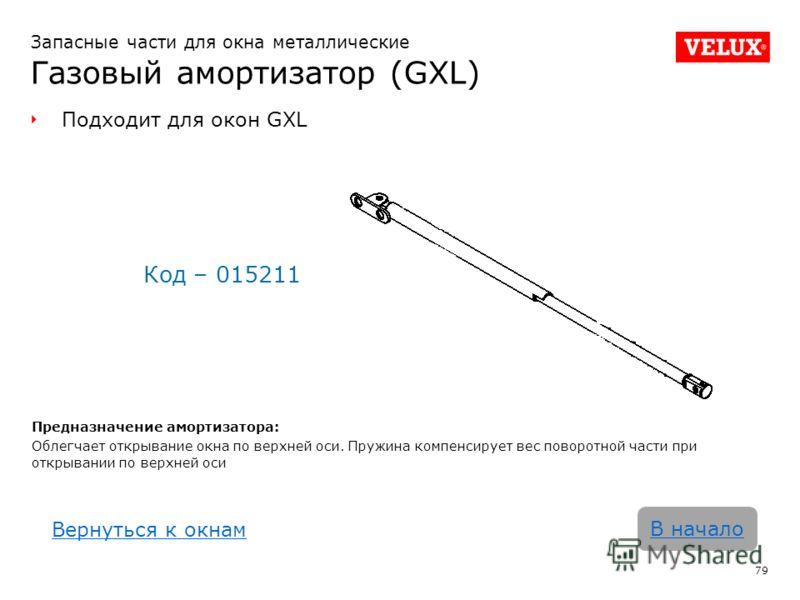 Запасные части для окна металлические Газовый амортизатор (GXL) 79 В начало Подходит для окон GXL Код – 015211 Предназначение амортизатора: Облегчает открывание окна по верхней оси. Пружина компенсирует вес поворотной части при открывании по верхней