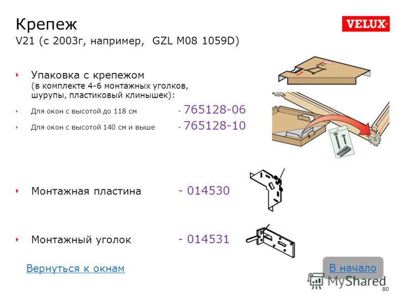 Крепеж V21 (с 2003г, например, GZL M08 1059D) 80 В начало Упаковка с крепежом (в комплекте 4-6 монтажных уголков, шурупы, пластиковый клинышек): Для окон с высотой до 118 см - 765128-06 Для окон с высотой 140 см и выше- 765128-10 Монтажная пластина -