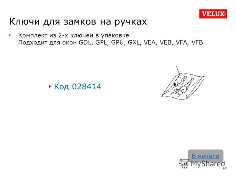 Ключи для замков на ручках Комплект из 2-х ключей в упаковке Подходит для окон GDL, GPL, GPU, GXL, VEA, VEB, VFA, VFB Код 028414 93 В начало