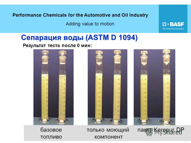 Performance Chemicals for the Automotive and Oil Industry Adding value to motion 14 18 базовое только моющий пакет Keropur DP топливо компонент Сепарация воды (ASTM D 1094) Результат теста после 0 мин: