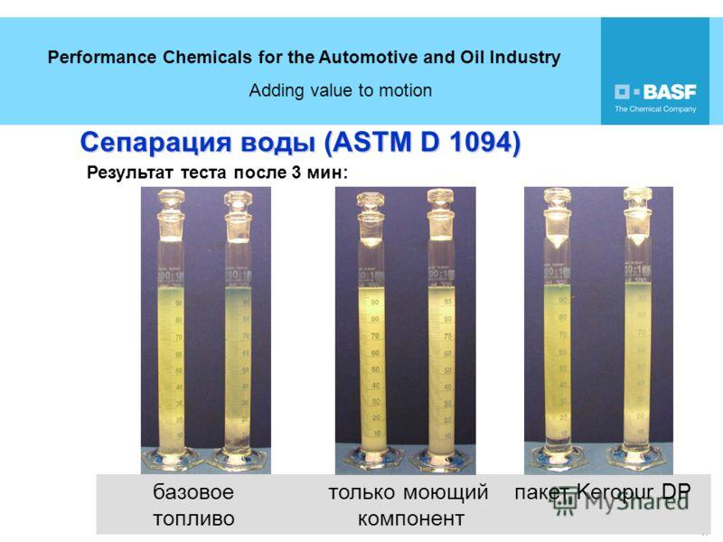 Performance Chemicals for the Automotive and Oil Industry Adding value to motion 17 18 базовое только моющий пакет Keropur DP топливо компонент Сепарация воды (ASTM D 1094) Результат теста после 3 мин: