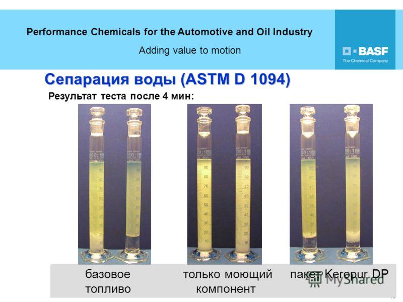 Performance Chemicals for the Automotive and Oil Industry Adding value to motion 18 базовое только моющий пакет Keropur DP топливо компонент Сепарация воды (ASTM D 1094) Результат теста после 4 мин: