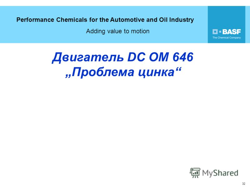 Performance Chemicals for the Automotive and Oil Industry Adding value to motion 32 Двигатель DC OM 646Проблема цинка