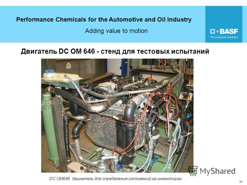 Performance Chemicals for the Automotive and Oil Industry Adding value to motion 34 Двигатель DC OM 646 - стенд для тестовых испытаний DC OM646 двигатель для определения отложений на инжекторах