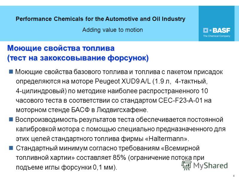 Performance Chemicals for the Automotive and Oil Industry Adding value to motion 4 Моющие свойства топлива (тест на закоксовывание форсунок) Моющие свойства базового топлива и топлива с пакетом присадок определяются на моторе Peugeot XUD9 A/L (1.9 л,