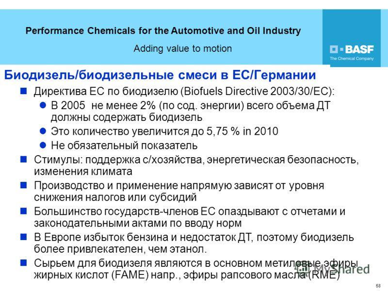 Performance Chemicals for the Automotive and Oil Industry Adding value to motion 58 Биодизель/биодизельные смеси в ЕС/Германии Директива ЕС по биодизелю (Biofuels Directive 2003/30/EC): В 2005 не менее 2% (по сод. энергии) всего объема ДТ должны соде