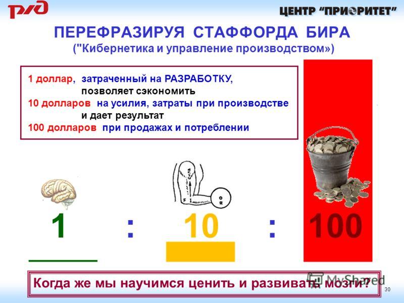 30 1 : 10 : 100 ПЕРЕФРАЗИРУЯ СТАФФОРДА БИРА (
