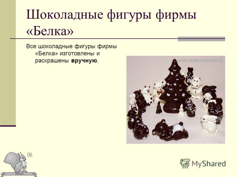 Шоколадные фигуры фирмы «Белка» Все шоколадные фигуры фирмы «Белка» изготовлены и раскрашены вручную.