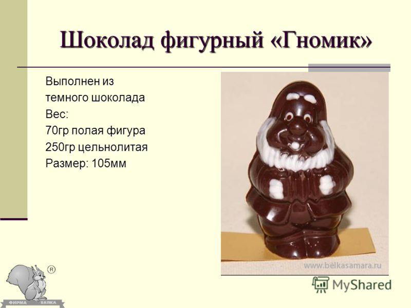 Шоколад фигурный «Гномик» Выполнен из темного шоколада Вес: 70гр полая фигура 250гр цельнолитая Размер: 105мм