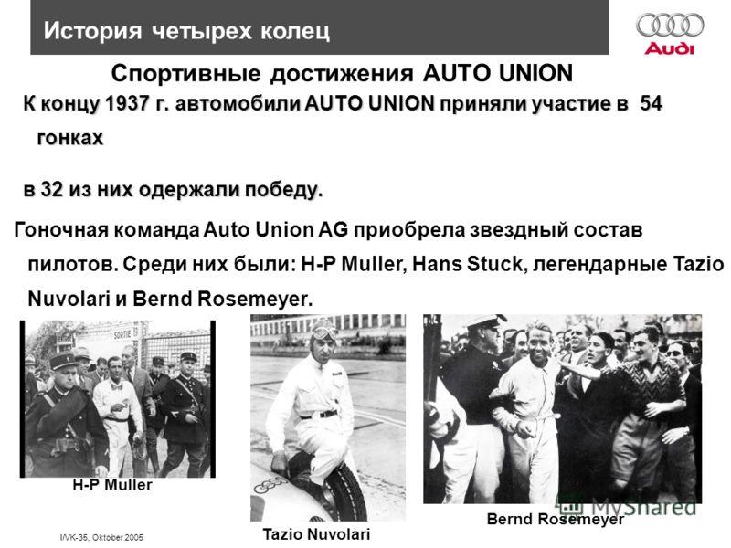 I/VK-35, Oktober 2005 История четырех колец Спортивные достижения AUTO UNION К концу 1937 г. автомобили AUTO UNION приняли участие в 54 гонках К концу 1937 г. автомобили AUTO UNION приняли участие в 54 гонках в 32 из них одержали победу. в 32 из них