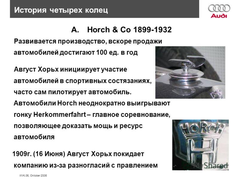 I/VK-35, Oktober 2005 История четырех колец A.Horch & Co 1899-1932 Развивается производство, вскоре продажи автомобилей достигают 100 ед. в год Август Хорьх инициирует участие автомобилей в спортивных состязаниях, часто сам пилотирует автомобиль. Авт
