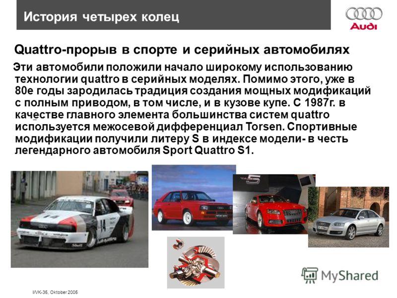 I/VK-35, Oktober 2005 Quattro-прорыв в спорте и серийных автомобилях История четырех колец – – – – Эти автомобили положили начало широкому использованию технологии quattro в серийных моделях. Помимо этого, уже в 80е годы зародилась традиция создания