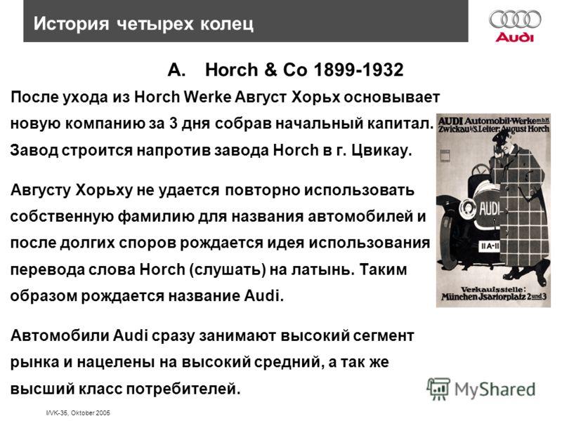 I/VK-35, Oktober 2005 История четырех колец A.Horch & Co 1899-1932 После ухода из Horch Werke Август Хорьх основывает новую компанию за 3 дня собрав начальный капитал. Завод строится напротив завода Horch в г. Цвикау. Августу Хорьху не удается повтор