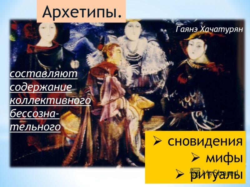 сновидения мифы ритуалы Архетипы. составляют содержание коллективного бессозна- тельного Гаянэ Хачатурян
