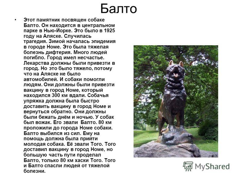 Балто Этот памятник посвящен собаке Балто. Он находится в центральном парке в Нью-Йорке. Это было в 1925 году на Аляске. Случилась трагедия. Зимой началась эпидемия в городе Номе. Это была тяжелая болезнь дифтерия. Много людей погибло. Город имел нес
