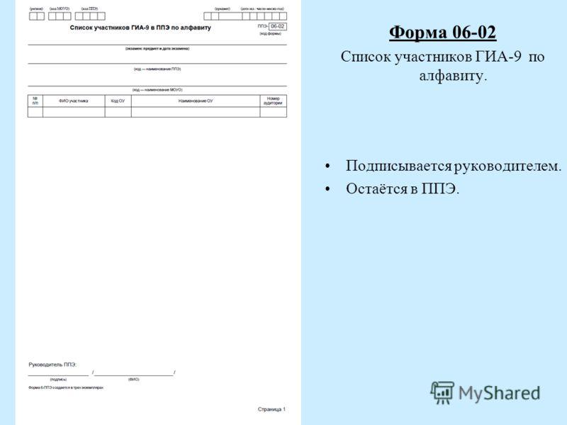 Форма 06-02 Список участников ГИА-9 по алфавиту. Подписывается руководителем. Остаётся в ППЭ.