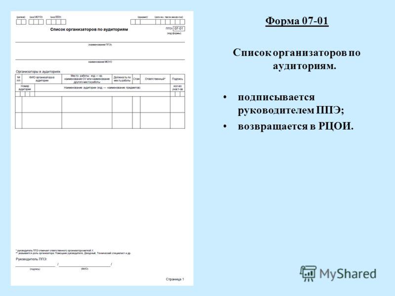 Форма 07-01 Список организаторов по аудиториям. подписывается руководителем ППЭ; возвращается в РЦОИ.