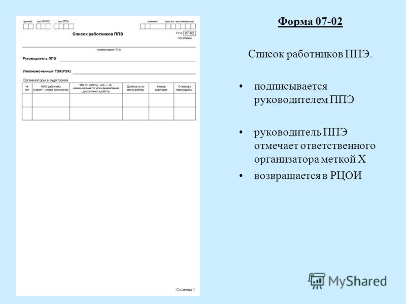 Форма 07-02 Список работников ППЭ. подписывается руководителем ППЭ руководитель ППЭ отмечает ответственного организатора меткой X возвращается в РЦОИ