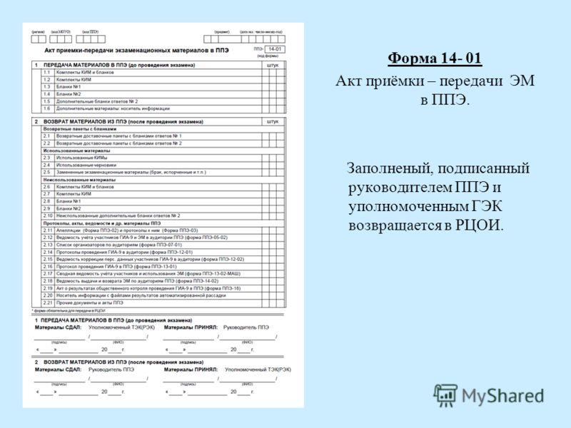 Форма 14- 01 Акт приёмки – передачи ЭМ в ППЭ. Заполненый, подписанный руководителем ППЭ и уполномоченным ГЭК возвращается в РЦОИ.