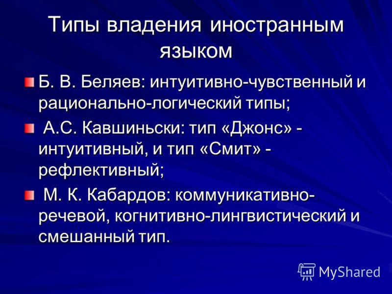 Типы владения иностранным языком Б. В. Беляев: интуитивно-чувственный и рационально-логический типы; А.С. Кавшиньски: тип «Джонс» - интуитивный, и тип «Смит» - рефлективный; А.С. Кавшиньски: тип «Джонс» - интуитивный, и тип «Смит» - рефлективный; М.