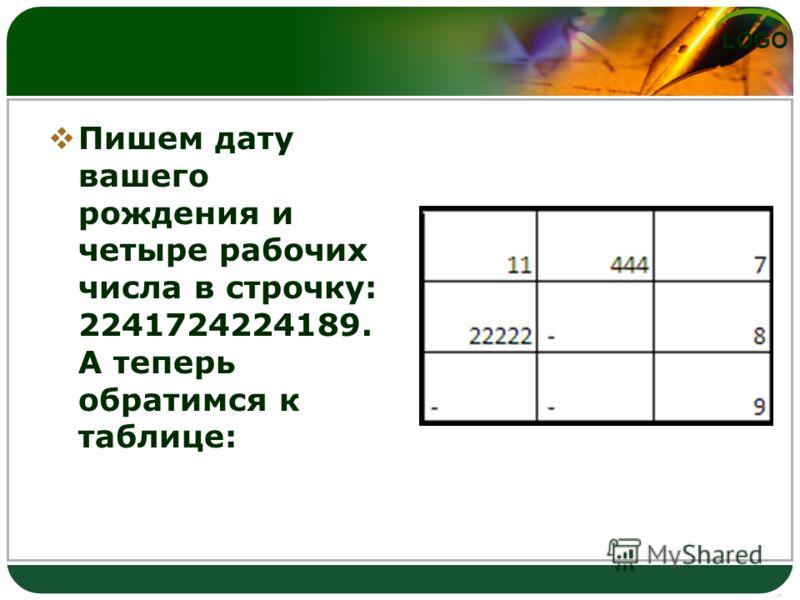 LOGO Пишем дату вашего рождения и четыре рабочих числа в строчку: 2241724224189. А теперь обратимся к таблице: