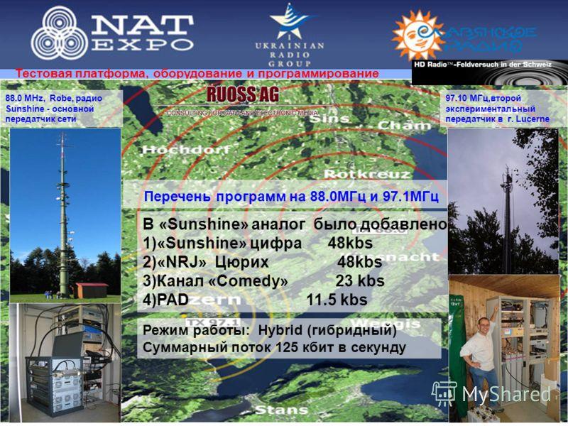 Тестовая платформа, оборудование и программирование Режим работы: Hybrid (гибридный) Суммарный поток 125 кбит в секунду Перечень программ на 88.0МГц и 97.1МГц В «Sunshine» аналог было добавлено 1)«Sunshine» цифра 48kbs 2)«NRJ» Цюрих 48kbs 3)Канал «Co