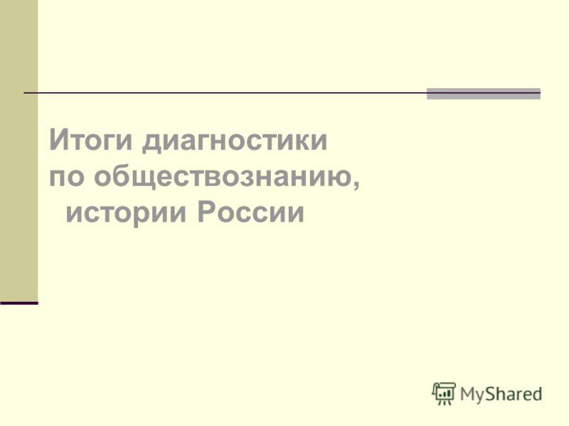 Итоги диагностики по обществознанию, истории России