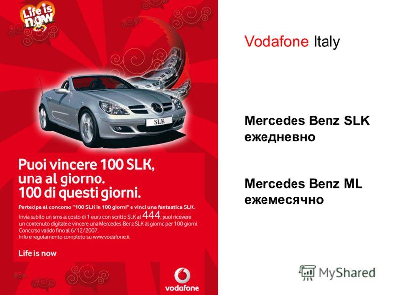 16Примеры Vodafone Italy Mercedes Benz SLK ежедневно Mercedes Benz ML ежемесячно