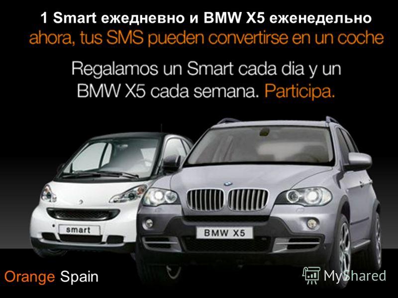 Примеры 1 Smart ежедневно и BMW X5 еженедельно Orange Spain
