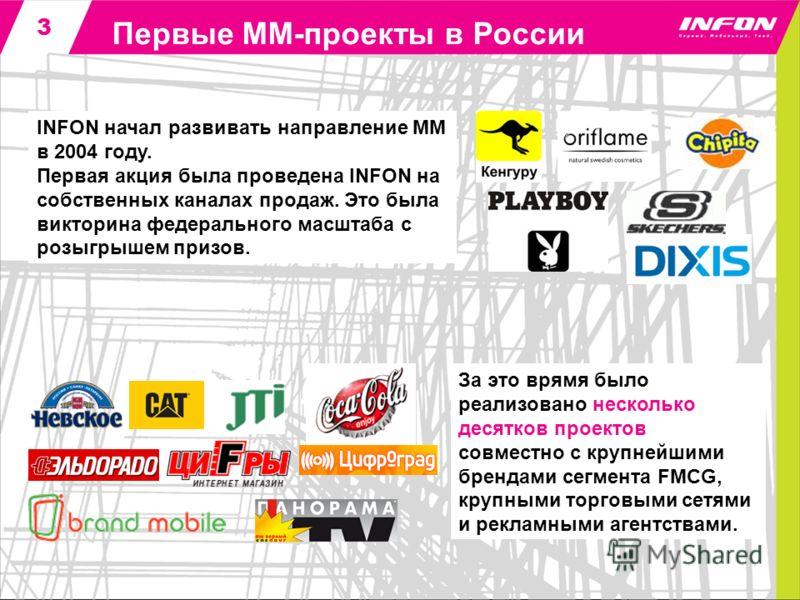 3 Первые ММ-проекты в России INFON начал развивать направление MM в 2004 году. Первая акция была проведена INFON на собственных каналах продаж. Это была викторина федерального масштаба с розыгрышем призов. За это врямя было реализовано несколько деся