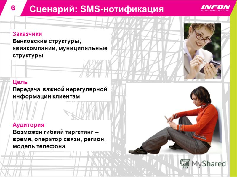 6 Сценарий: SMS-нотификация Аудитория Возможен гибкий таргетинг – время, оператор связи, регион, модель телефона Заказчики Банковские структуры, авиакомпании, муниципальные структуры Цель Передача важной нерегулярной информации клиентам