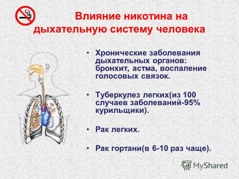 Влияние никотина на кровеносную систему человека Снижает количество эритроцитов и гемоглобина. Инфаркт миокарда у курящих в 13 раз чаще (до 40 лет). Острый инфаркт миокарда (у 80% курящих со школьной скамьи).