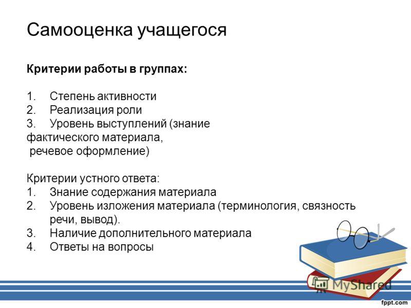 Самооценка учащегося Критерии работы в группах: 1.Степень активности 2.Реализация роли 3.Уровень выступлений (знание фактического материала, речевое оформление) Критерии устного ответа: 1.Знание содержания материала 2.Уровень изложения материала (тер