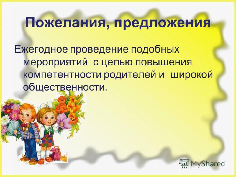 Пожелания, предложения Ежегодное проведение подобных мероприятий с целью повышения компетентности родителей и широкой общественности.