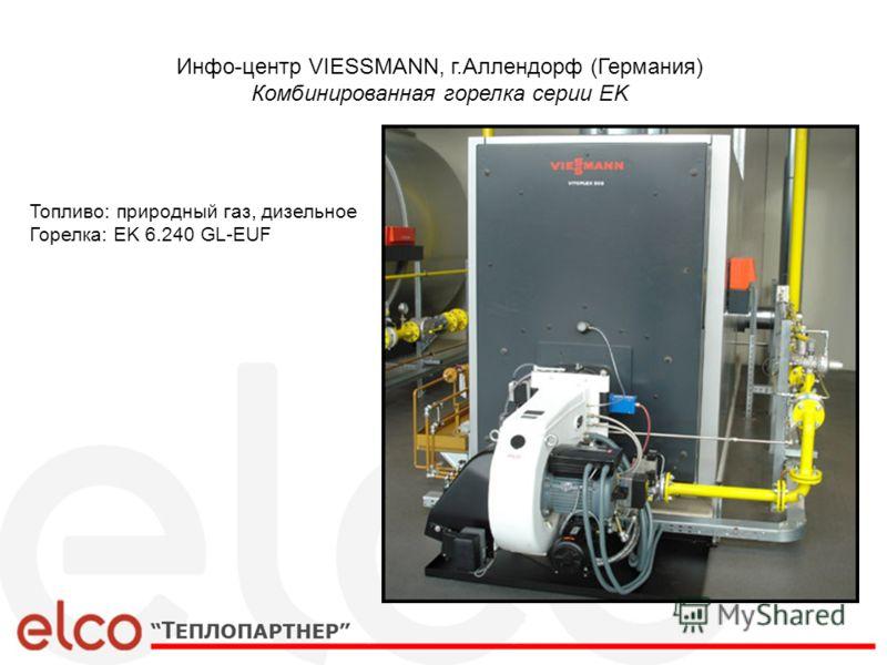 Инфо-центр VIESSMANN, г.Аллендорф (Германия) Комбинированная горелка серии EK Топливо: природный газ, дизельное Горелка: EK 6.240 GL-EUF