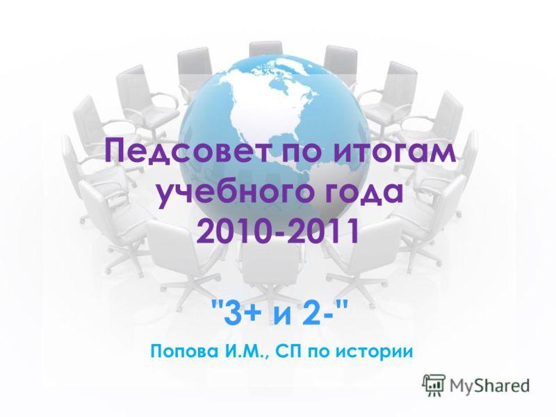 Педсовет по итогам учебного года 2010-2011 3+ и 2- Попова И.М., СП по истории