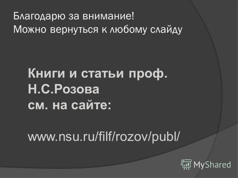 Благодарю за внимание! Можно вернуться к любому слайду Книги и статьи проф. Н.С.Розова см. на сайте: www.nsu.ru/filf/rozov/publ/