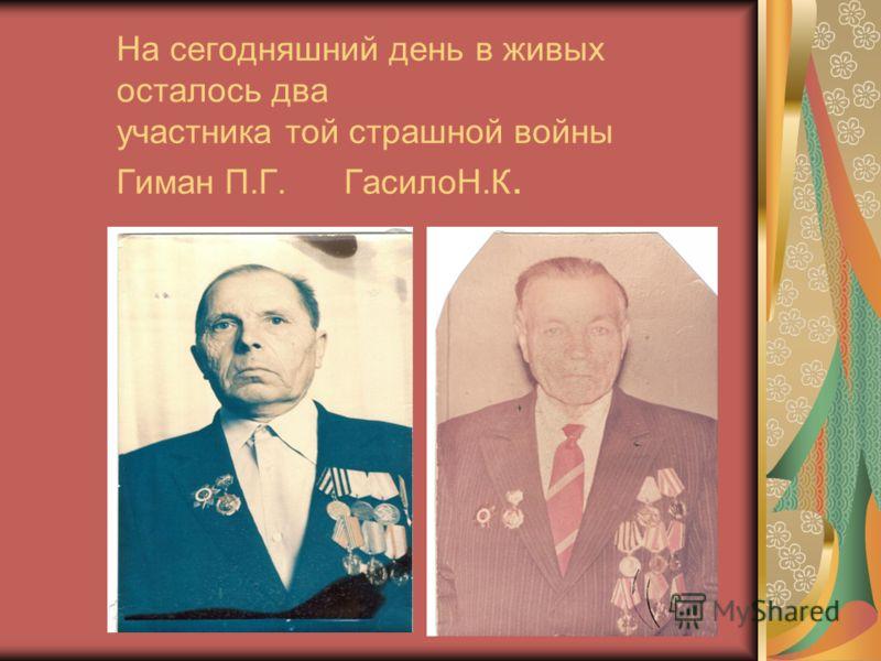 На сегодняшний день в живых осталось два участника той страшной войны Гиман П.Г. ГасилоН.К.