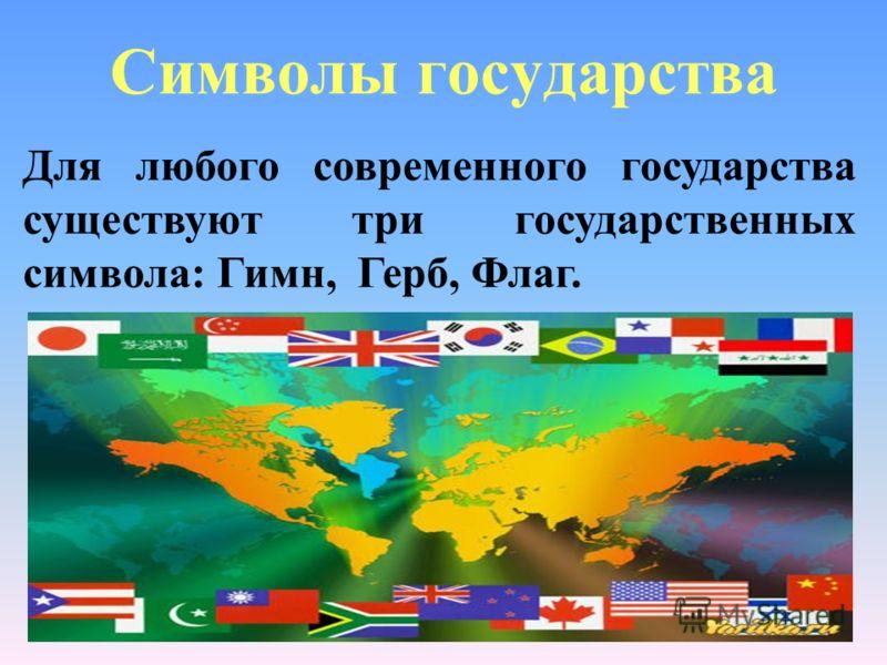 Символы государства Для любого современного государства существуют три государственных символа: Гимн, Герб, Флаг.
