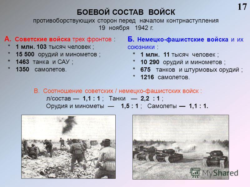 БОЕВОЙ СОСТАВ ВОЙСК противоборствующих сторон перед началом контрнаступления 19 ноября 1942 г. 17 А. Советские войска трех фронтов : * 1 млн. 103 тысяч человек ; * 15 500 орудий и минометов ; * 1463 танка и САУ ; * 1350 самолетов. Б. Немецко-фашистск