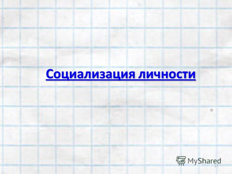 Социализация личности Социализация личности 57