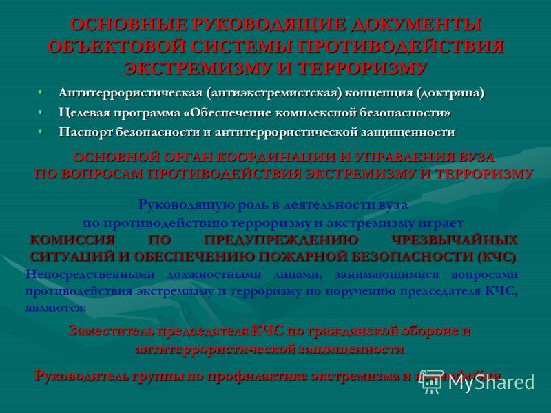 ОСНОВНЫЕ РУКОВОДЯЩИЕ ДОКУМЕНТЫ ОБЪЕКТОВОЙ СИСТЕМЫ ПРОТИВОДЕЙСТВИЯ ЭКСТРЕМИЗМУ И ТЕРРОРИЗМУ Антитеррористическая (антиэкстремистская) концепция (доктрина)Антитеррористическая (антиэкстремистская) концепция (доктрина) Целевая программа «Обеспечение ком