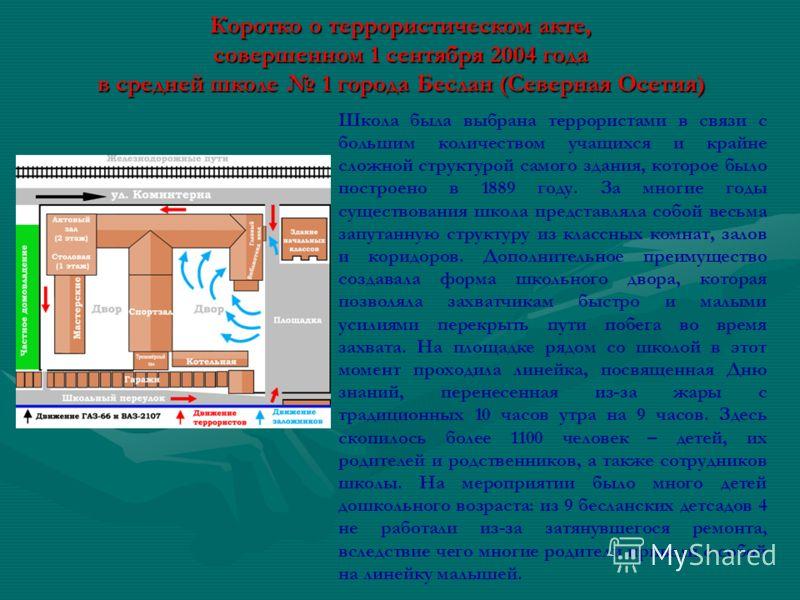 Коротко о террористическом акте, совершенном 1 сентября 2004 года в средней школе 1 города Беслан (Северная Осетия) Школа была выбрана террористами в связи с большим количеством учащихся и крайне сложной структурой самого здания, которое было построе