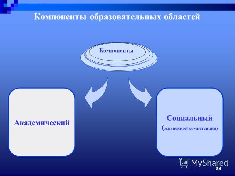 28 Компоненты образовательных областей Академический Социальный ( жизненной компетенции) Социальный ( жизненной компетенции) Компоненты