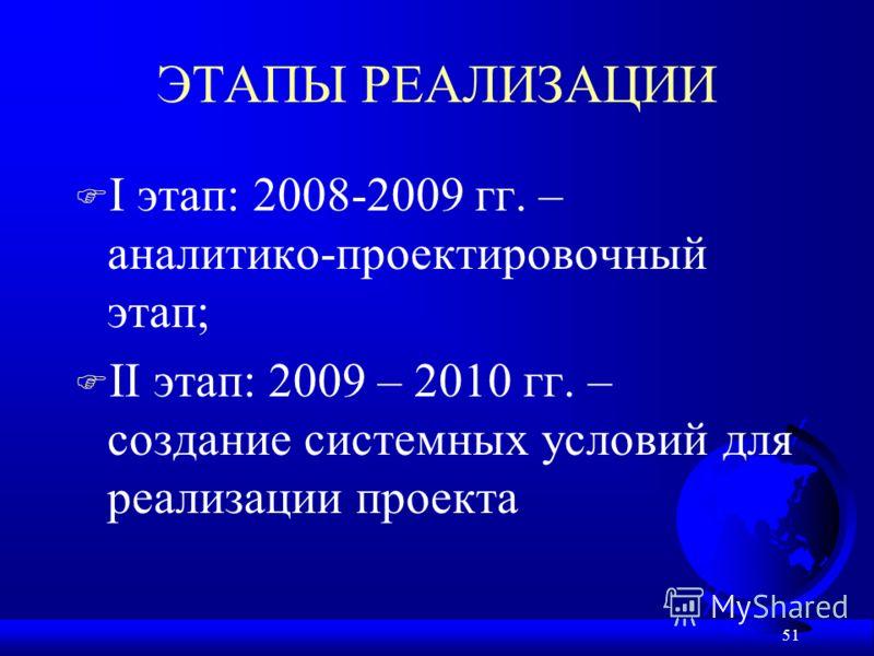 51 ЭТАПЫ РЕАЛИЗАЦИИ F I этап: 2008-2009 гг. – аналитико-проектировочный этап; F II этап: 2009 – 2010 гг. – создание системных условий для реализации проекта