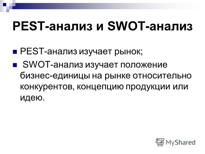 PEST-анализ и SWOT-анализ PEST-анализ изучает рынок; SWOT-анализ изучает положение бизнес-единицы на рынке относительно конкурентов, концепцию продукции или идею.